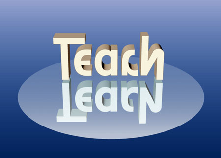 Teach Learn Ambigram by Scott Kim