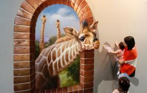 Feeding the Giraffe - 3D Illusion