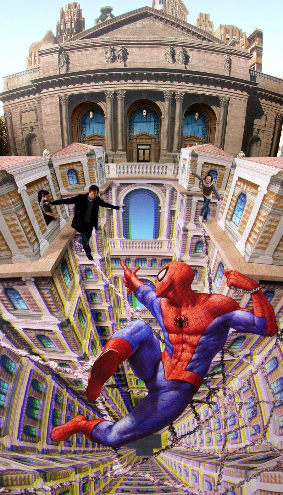 Spiderman Street Art by Kurt Wenner