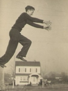 Vintage Forced Perspective - Guy Jumps Over House