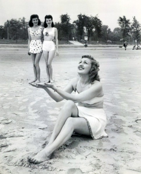 Vintage Forced Perspective - Ladies on Beach