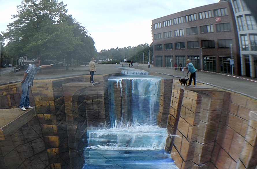 3d street painting by gregor wosik an optical illusion