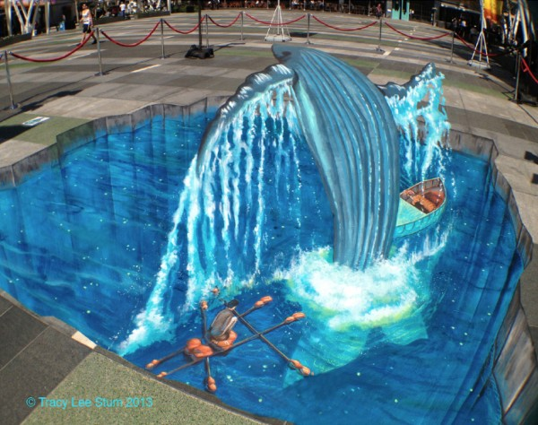 Life of Pi Sidewalk Chalk Art by Tracy Lee Stum