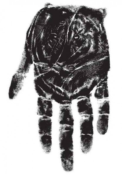 tiger hand print illusion