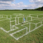 Anamorphic Chalk on Grass by Leon Keer