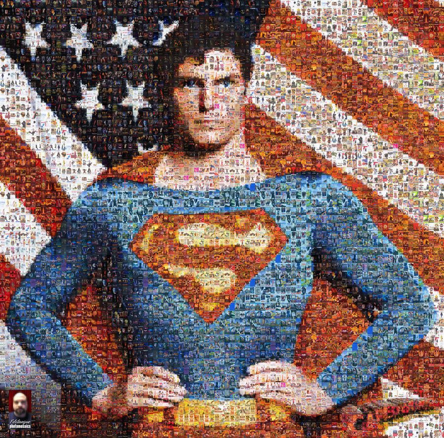 superman photographic mosaic an optical illusion