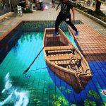 Anamorphic Row Boat by Tracy Lee Stum